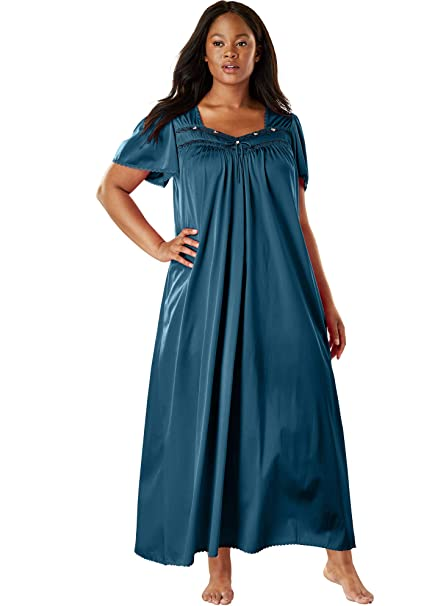 06da083026a1 Only Necessities Women s Plus Size Long Silky Lace-Trim Gown at Amazon  Women s Clothing store  Miss Elaine Nightgowns