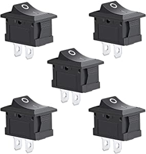 Aokin 5Pcs Rocker Switch, Circuit Switch 2 Pin Snap-in On/Off Position Snap Boat Rocker Switch 12V/110V/250V OT8G