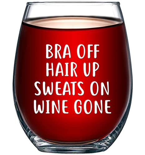 Christmas Gift Ideas For Wife.Bra Off Hair Up Sweats On Wine Gone Funny 15oz Wine Glass Unique Christmas Gift Idea For Her Mom Wife Girlfriend Sister Best Friend Bff
