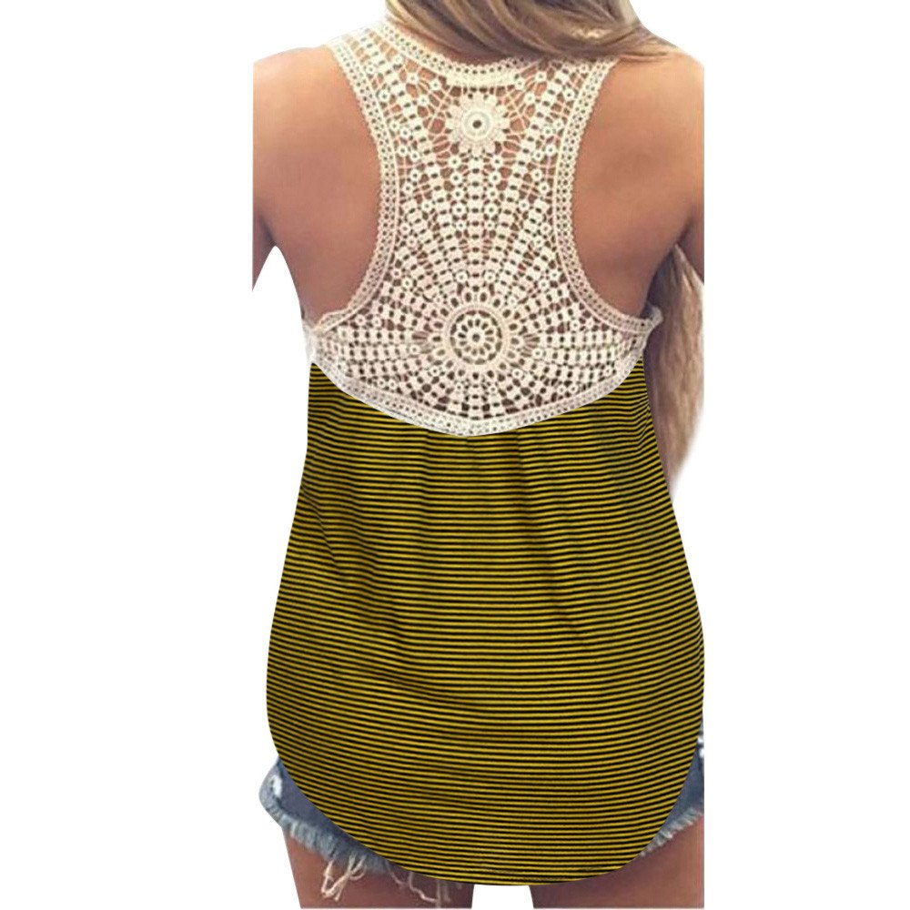 Winsummer Women Vest, Women's Summer Lace Stripe Vest Sleeveless Blouse Casual Loose Tunic Tank Tops T-Shirt Yellow