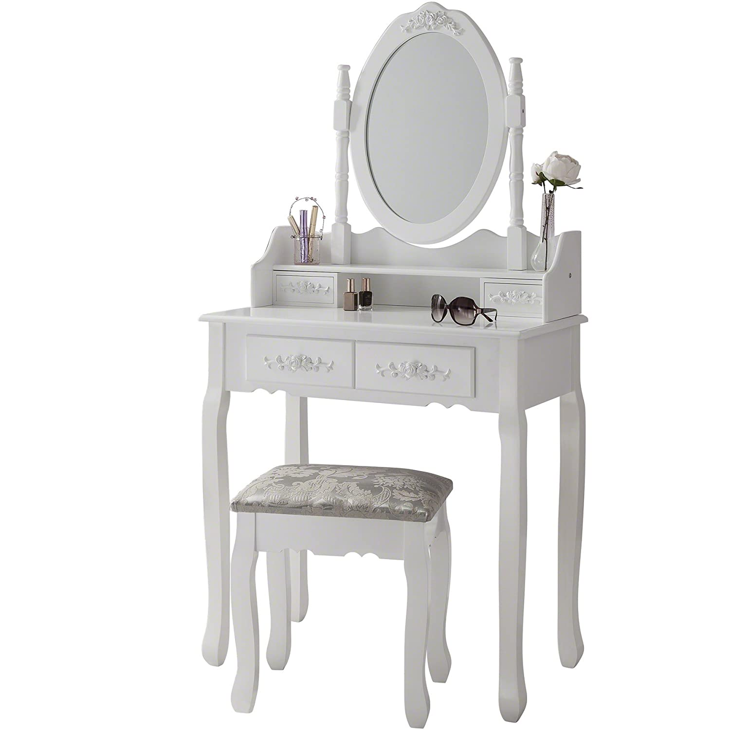 luxembourg white dressing table stool mirror set 4 drawers. Black Bedroom Furniture Sets. Home Design Ideas