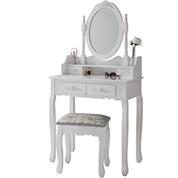 Superieur Luxembourg White Dressing Table Stool Mirror Set 4 Drawers Bedroom Dresser