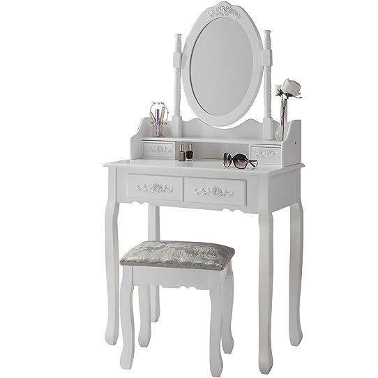 Capri Chaise pour coiffeuse Blanc &Miroir de coiffeuse 5 tiroirs ...