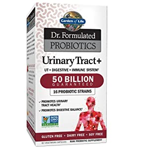 Garden of Life - Dr. Formulated Probiotics Urinary Tract+ - Acidophilus Probiotic Supports Urinary Tract Health, Digestive Balance - Gluten, Dairy, and Soy-Free - 60 Vegetarian Capsules (Shipped Cold)