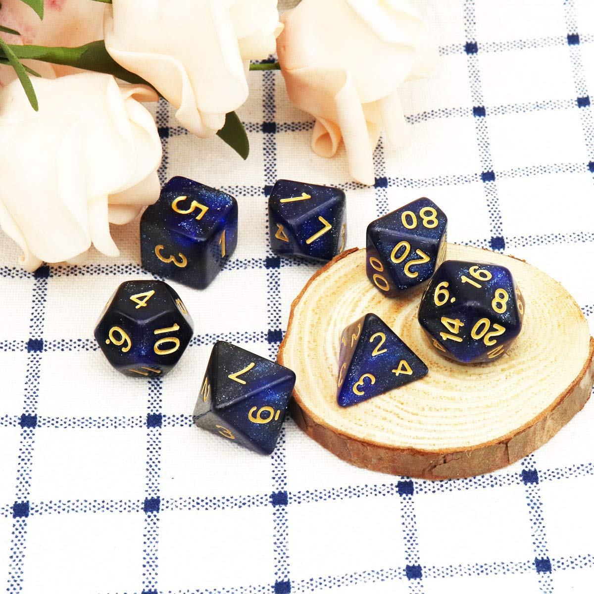 Haxtec 7PCS DND Dice Set Polyhedral D/&D Dice of D20 D12 D10 D8 D6 D4 for Dungeons and Dragons TTRPG Games White Cloud-Gold Numbers