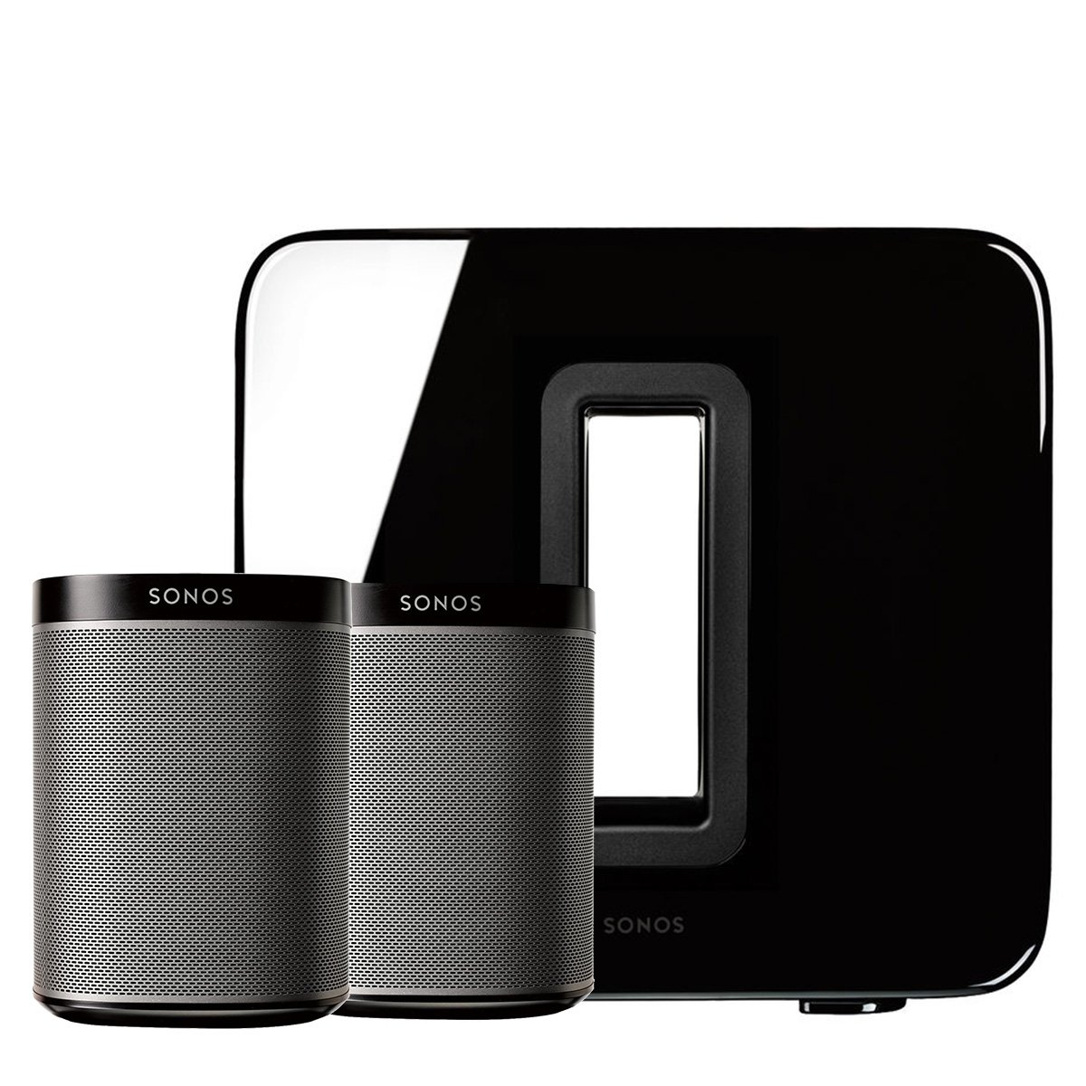 Sonos PLAY:1 (Black, Pair) Multi-Room Digital Music System Bundle & Sonos Wireless SUB (Black) by Sonos (Image #1)