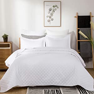 Bedsure Quilt Set White Full/Queen Size (90x96 inches) - Diamond Stitched Pattern - Soft Microfiber Lightweight Coverlet Bedspread for All Season - 3 Piece Reversible (Includes 1 Quilt, 2 Shams)