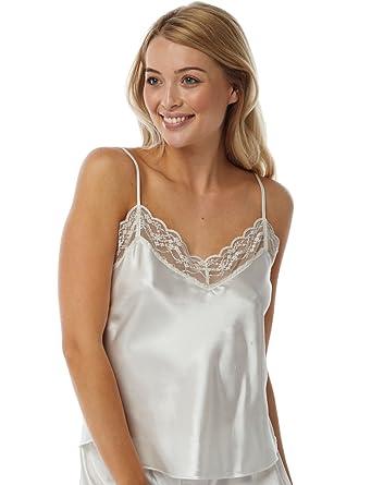 35c985e2052 Marlon Ladies Satin Lace Camisole Vest Ivory - Size 10-24 (12)  Amazon.co.uk   Clothing