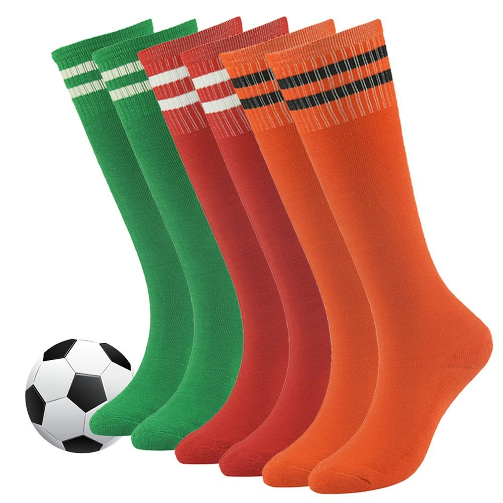 Sports Tube Socks,Youth Children School Team Athletic Performance Knee High Stocking for Soccer,Football,Baseball,Basketball 6 Pack by Fasoar