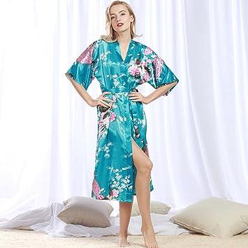 Albornoces ZLR Seda y Otoño de Seda de Mujer Sexy Camisón Largo Pijama Verano Batas de casa Desgaste del hogar: Amazon.es: Deportes y aire libre