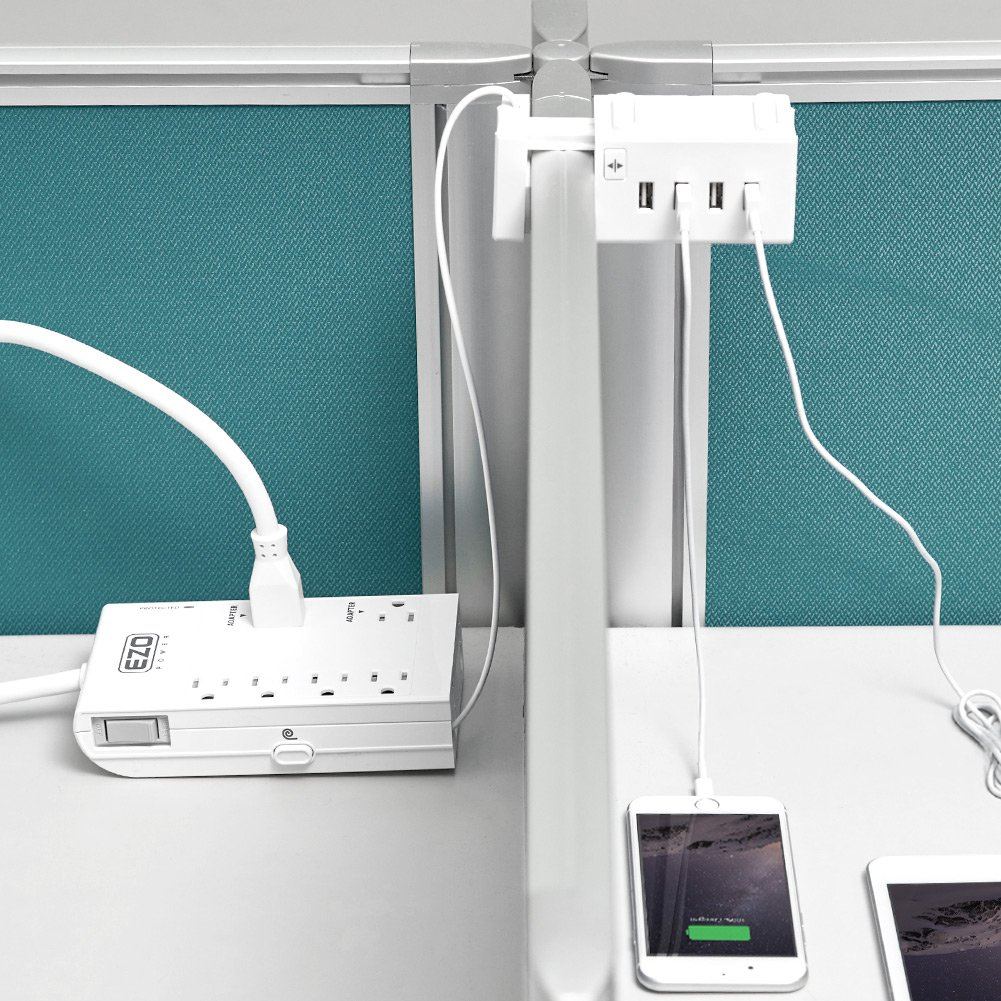[UL Certified] Charging Desktop Work Station EZOPower 6 Outlet Power Strip Surge Protector + Extendable USB Charger 4 Port with Desk Mount Clamp by EZOPower (Image #6)