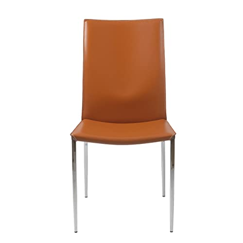 Eur Style Max Leather Side Dining Chair with Chromed Steel Base, Set of 2, Cognac