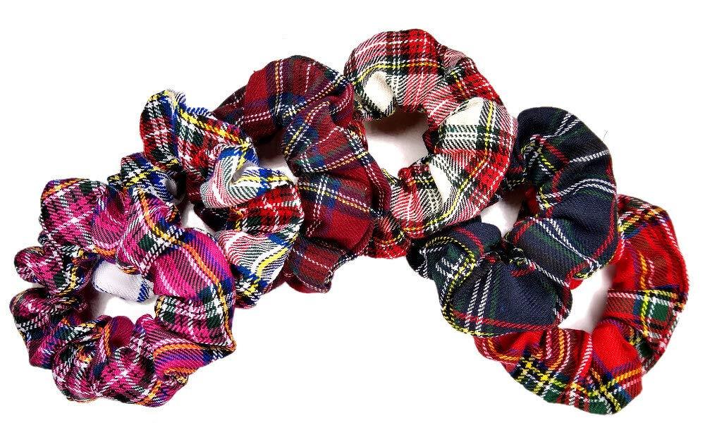 choice of six designs Tartan Hair Scrunchies