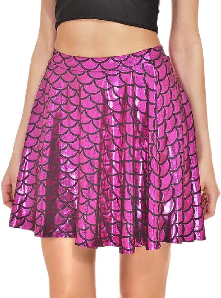 VITryst Falda metálica Sexy, línea A, para Mujer, con diseño de ...