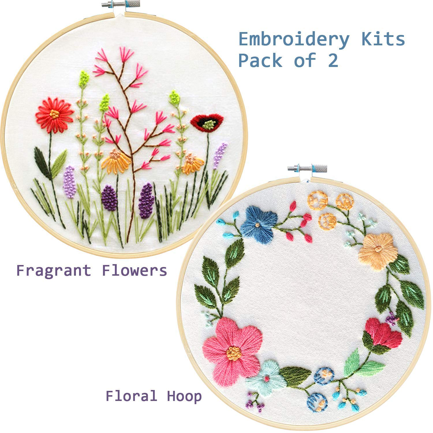 and Tools Kit Unime Full Range of Embroidery Starter Kit with Pattern Cross Stitch Kit Including Embroidery Cloth with Color Pattern Sunflower,Bouquet Embroidery Hoop Color Threads