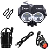 BYBO® 5000 Lumens 2x Cree XM-L U2 LED Bike Bicycle Cycling Light Headlight Headlamp Front Head Lights 8000mAh 18650 Rechargeable Battery Pack USB Charger with Rear Light for Camping Hiking Cicycling Riding
