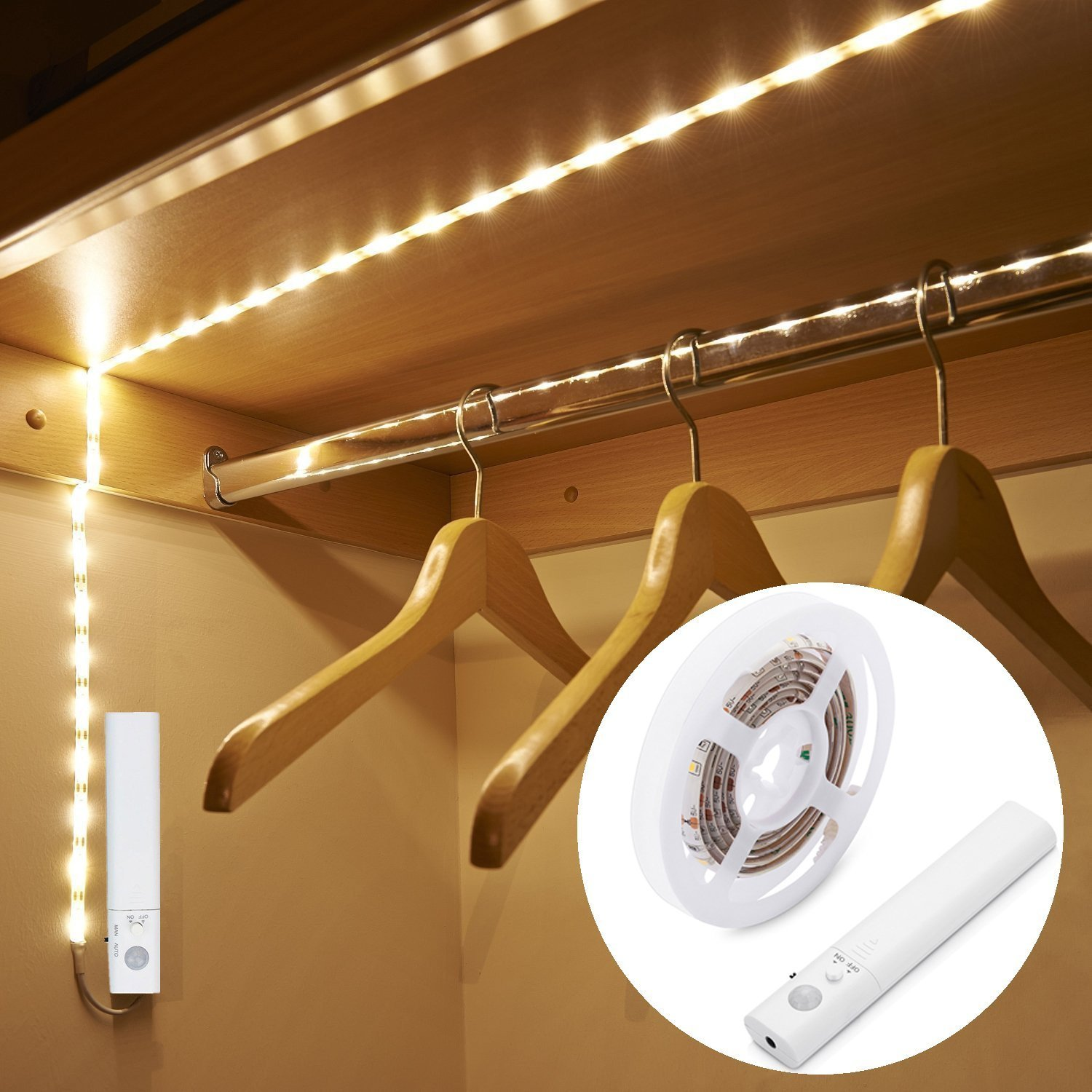 LUXJET Motion Sensor Closet Lights, Flexible LED Strip Kit with Motion Activated Rope Light for Bed, Bedroom, Under Cabinet, Warm White 3000K (4 AAA Batteries Operated, Not Included)
