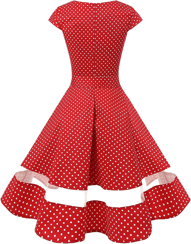Gardenwed Damen 1950er Vintage Cocktailkleid Rockabilly Retro Kleider Petticoat Faltenrock Abendkleid