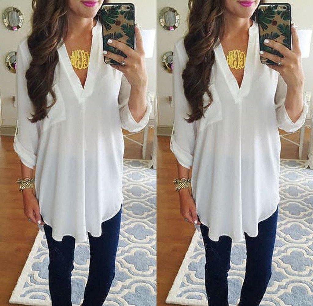 Tongshi Tops de camisa mujer manga larga blusa de Gasa (S, Blanco): Amazon.es: Ropa y accesorios