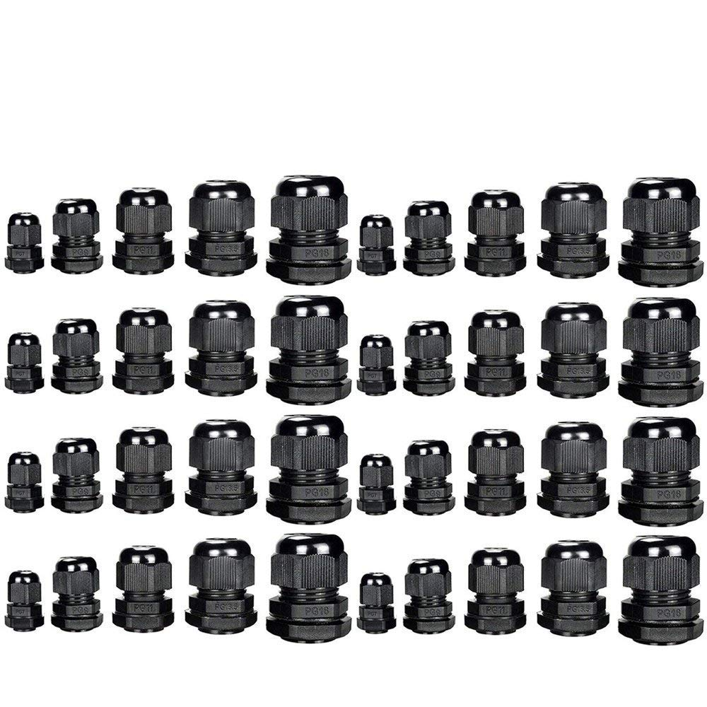 M20 x 1.5 Cable Glands Plastic Stuffing Gland Black IP68 Waterproof Cable Gland Ø 6mm-12mm Pack of 20 (M20 20pcs) Paor