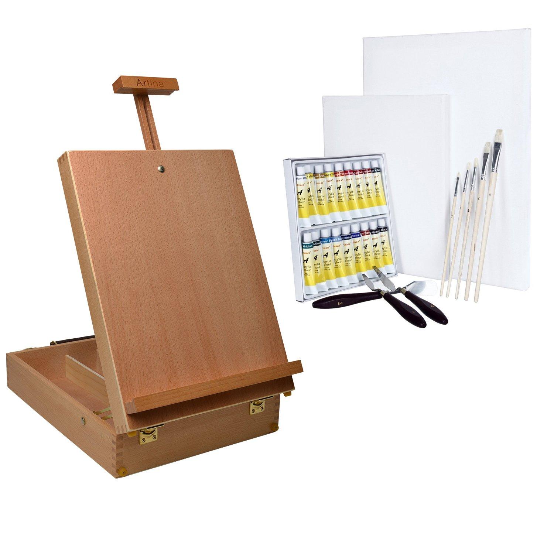 Artina Nancy Caballete de Pintura de Mesa Profesional Maletín Maletín Maletín Madera Haya 3 Compartimentos Asa para Llevar Lienzos 66 cm f3aca6