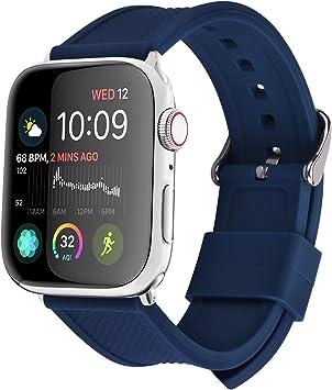 Fullmosa 8 Colores Correa de Silicona Compatible con Apple Watch Series 5/4/3/2/1, para Apple Watch 38mm 40mm 42mm 44mm, Azul Oscuro 38mm/40mm: Amazon.es: Electrónica