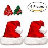 Bonnet Noel | 2 Deluxe Bonnets de Père Noël en Peluche + 2 Barrettes à Cheveux Arbre de Noel. Bonnets / Chapeau Rouge et Blanc Deguisement pour la Fête de Noel + 2 Pinces pour Filles.
