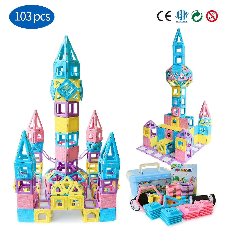 Magnetic Building Blocks STEM Educational Toys Tiles Set for Boys & Girls丨Magnet Stacking Block Sets for Kid's Basic Skills Learning & Development Toys-Great Gifts 103PCS by Magblock