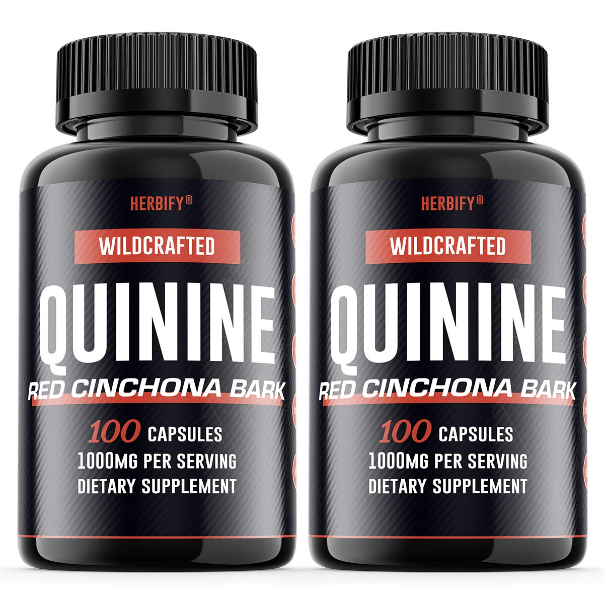 Quinine Pills 1000mg, Red Cinchona Bark Cinchona succirubra Peruvian Bark Cinchona officinalis Powerful Combination, Wild Harvested Herbal Supplement, 100 Capsules 200