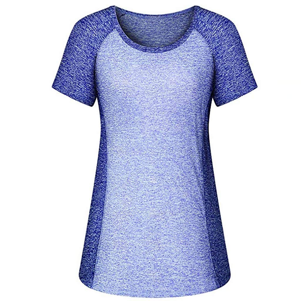 Danhjin Womens Workout Shirts Yoga Splice Tops Activewear Round Neck T Shirts Running Fitness Sports Short Sleeve Tees