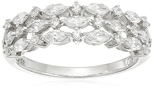 Platinum Plated Sterling Silver Swarovski Zirconia 3-Row Marquise Ring, Size 9