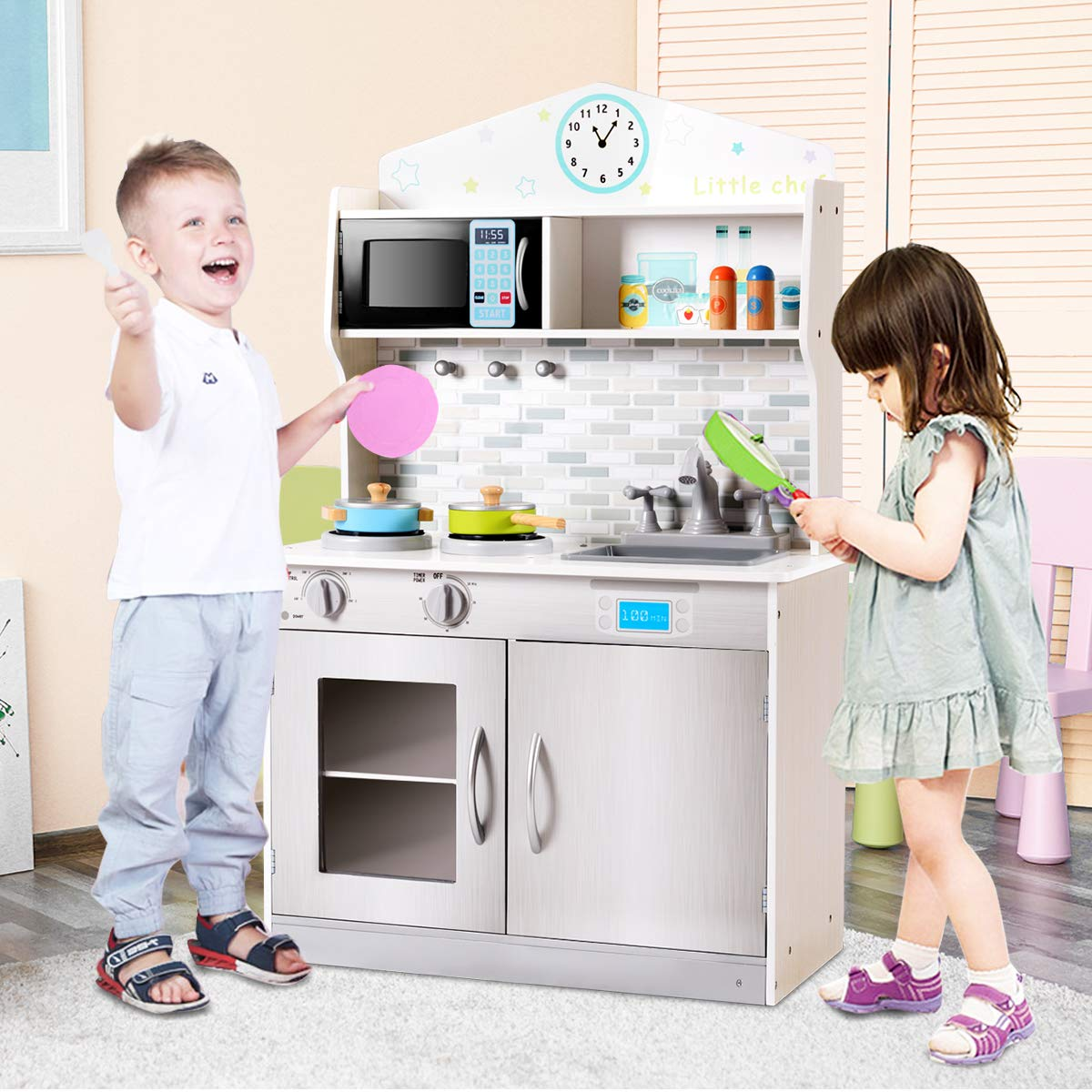 Costzon Kids Kitchen Playset, Wooden Cookware Pretend Cooking Food Set Toddler Gift Toy (Silver) by Costzon (Image #3)