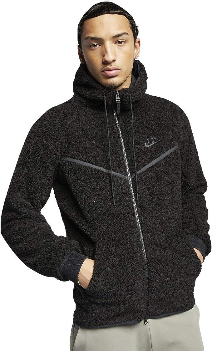 Ventilar Brillante construcción naval  Amazon.com: Nike Men's Tech Icon Sherpa Fleece Windrunner Jacket Black  AQ2767-010: Clothing