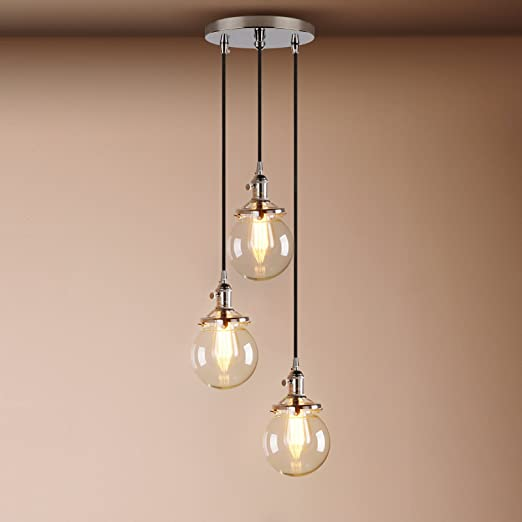 Pathson Industrial Modern Vintage Loft Bar Edison Ceiling Pendant - 3 Switch Light Fitting