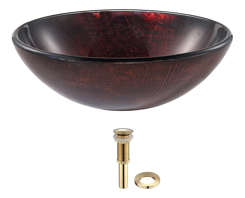 Kraus Saturnガラス容器シンク赤で マルチカラー GV-682-G 1 B008S7665K ゴールド ゴールド