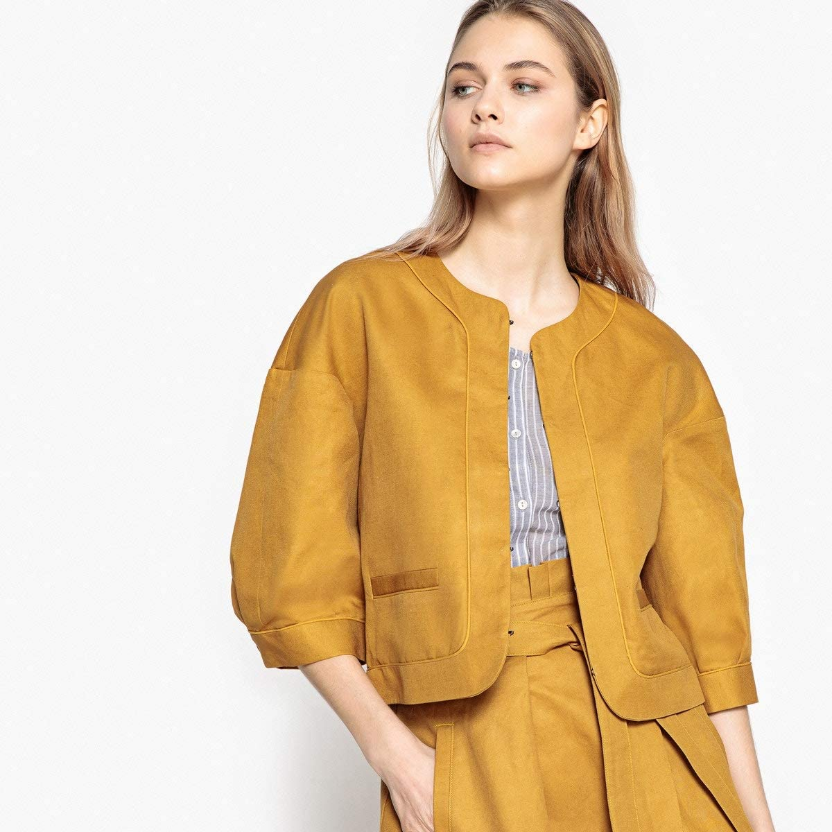 La Redoute Collections Womens Cotton /& Linen Jacket with Puff Sleeves