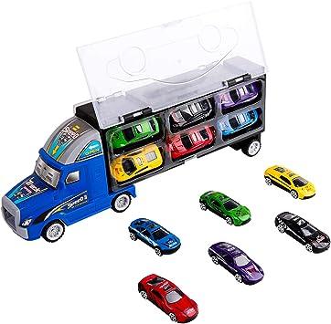 Jouet de Camion de Transporteur, Transporteur de Voiture avec 12 Mini Voitures en Métal Colorées pour des Garçons et des Filles