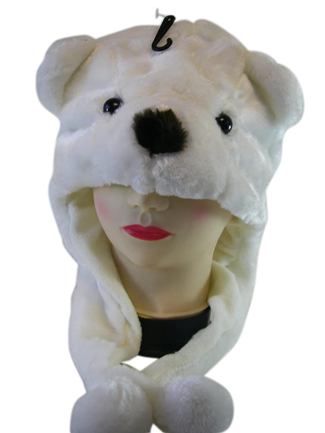 Polar Bear Hat - Winter Wear Plushy Animal Hat (One Size) kewlwool polar-bearhat-bx19b-25-fbu