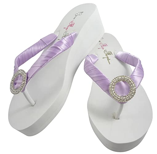 9c7ef0c51 Image Unavailable. Image not available for. Color  Wedge Wedding Flip Flops  with Luxe Rhinestone ...