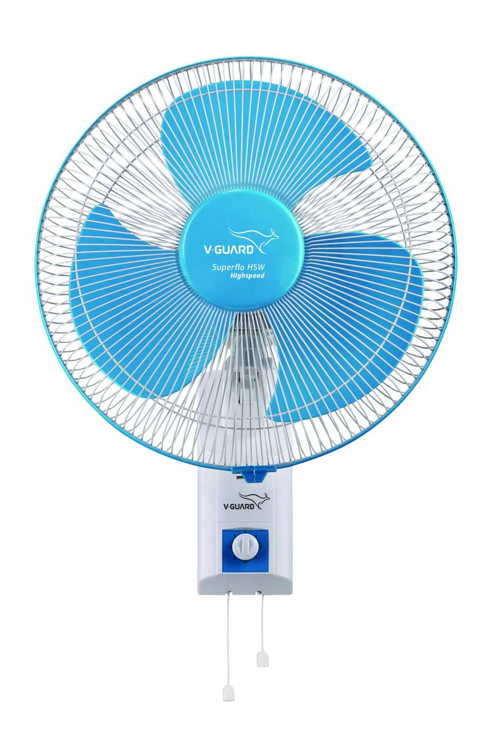 V-Guard Wall Fan Superflo High Speed- White Blue Sweep (300mm)