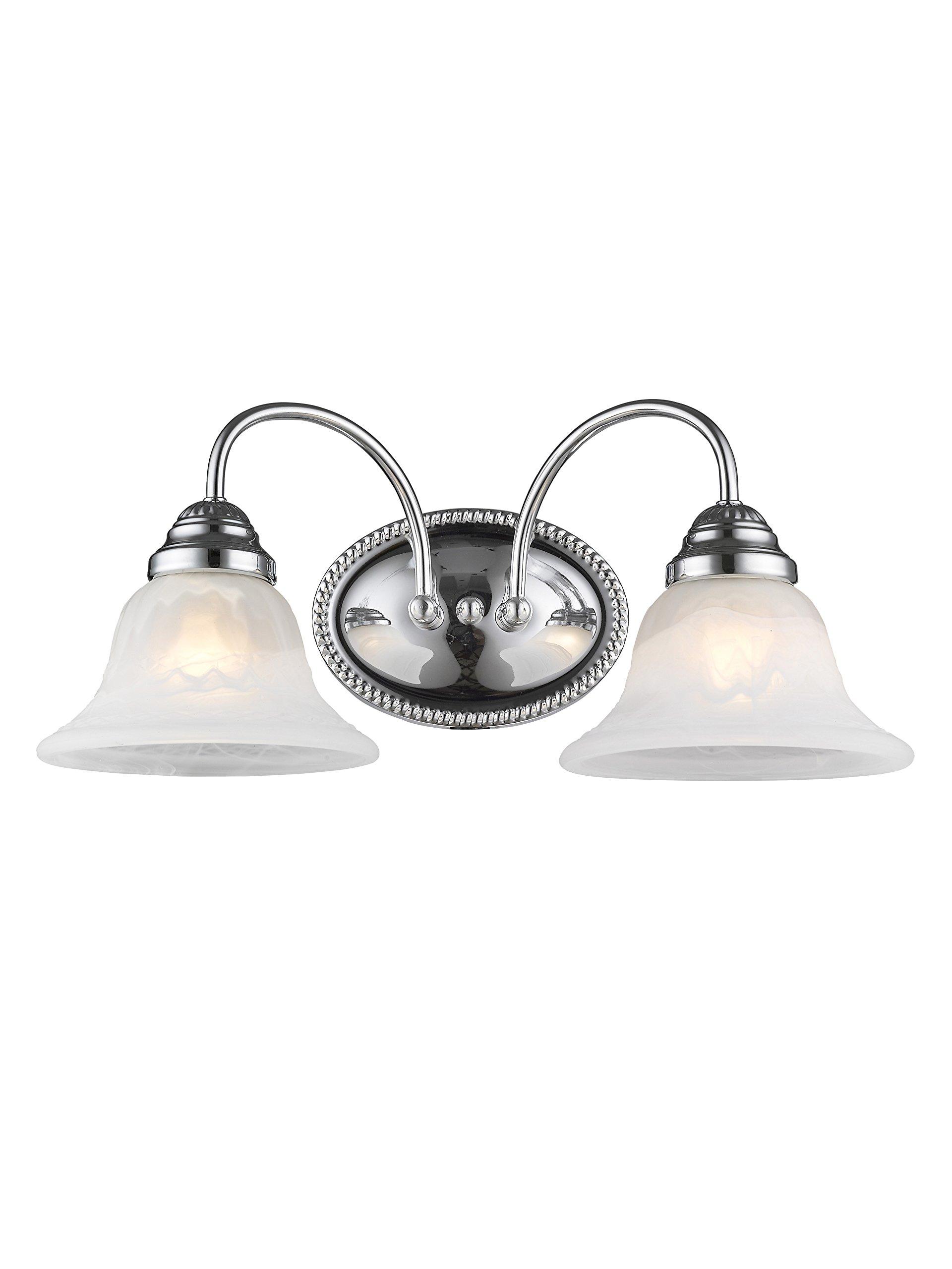 Livex Lighting 1532-05 Edgemont 2 Light Wall Sconce Chrome with White Alabaster Glass