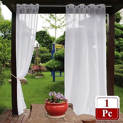 Gentil NICETOWN Outdoor Sheer Curtain For Patio   Water Resistant Semi Sheer  Curtain With Rope Tieback,