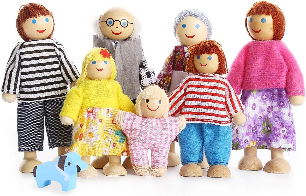 Playtee Muñecas de Familia con Muebles de Casa de Conjunto de Juguetes