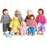 PUCKWAY Lovely Happy Family Dolls Playset Wooden Figures Set of 7 People with Dog for Kids Children Toddlers Dollhouse Preten