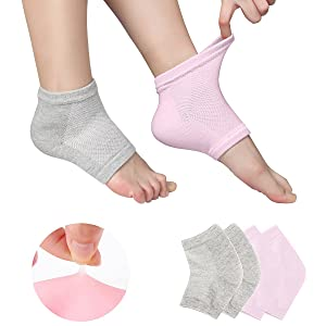 Gel Heel Socks Vented Moisturizing Spa for Dry Hard Cracked Skin Day Night Toe Open Silicone Feet Care Sets Ultimate Treatment with Quality Cotton and Botanical Gel Pack of 2 Pairs Free Size - Pink and Grey
