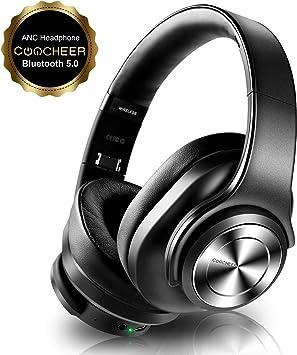 Auriculares Cancelación de Ruido Bluetooth, Over Ear Inalámbricos con Micrófono, Altavoces Duales de 40mm HD, HiFi, Graves Profundos, Carga Rápida Tipo C, 30H, para Phone, PC: Amazon.es: Electrónica