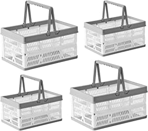 BYFU 4 Pack Plastic Collapsible Storage Crates with Handles, Stackable Folding Shopping Baskets, Utility Container Organizer Bins for Kitchen Bathroom Grocery Car Trunk, 2 Large & 2 Small