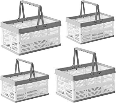Plastic Grocery Shopping Basket Folding Stackable Storage Containers Bin Box