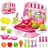deAO Toys Little Chef Kitchen Mini Carry Case Portable Role Play Set with Accessories (Pink)