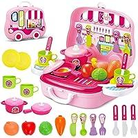 deAO Toys Little Chef Kitchen Mini Valigetta Portatile per Giochi di Ruolo, con Accessori (Rosa)